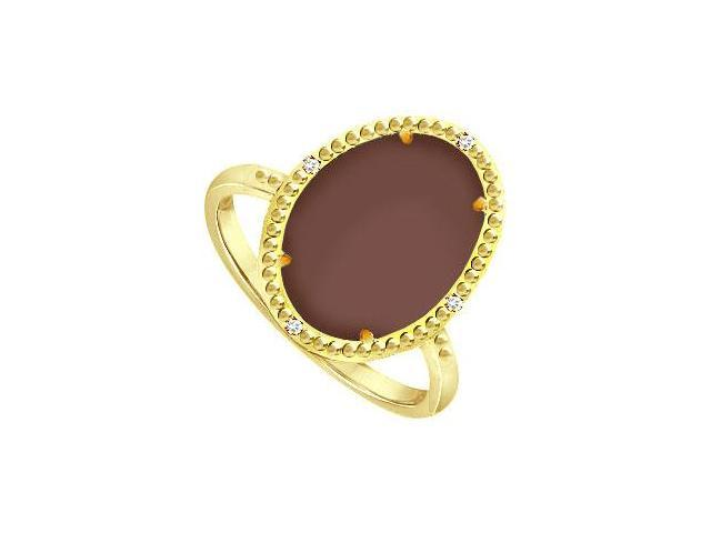 Rhodium Treated Silver Overlay 18K Yellow Gold 15.08 ct Chocolate Chalcedony and Cubic Zirconia