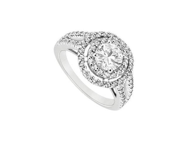 14K White Gold Engagement Ring with CZ of 1.25 Carat Total Gem Weight