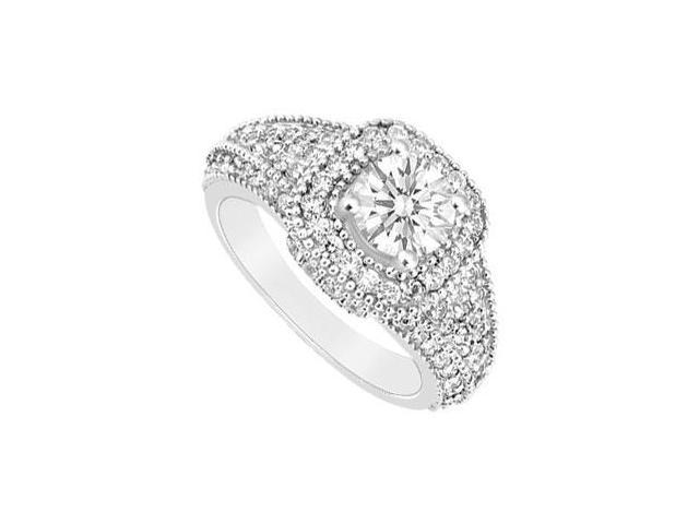 14K White Gold Engagement Ring with Cubic Zirconia 1.25 Carat Total Gem Weight