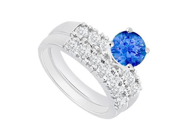 14K White Gold  Tanzanite and Diamond Engagement Ring with Wedding Band Set 1.50 CT TGW