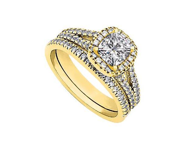 14K Yellow Gold CZ Engagement Ring with Wedding Band Sets Total Gem Weight 1.20 Carat