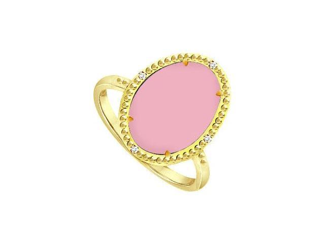 Sterling Silver Overlay 18K Yellow Gold Ring with Pink Chalcedony and CZ 15.08 Carat Totaling