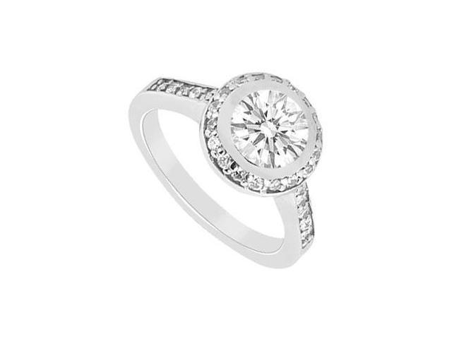 14K White Gold Halo Cubic Zirconia Engagement Ring in 14K White Gold 1 Carat Total Gem Weight