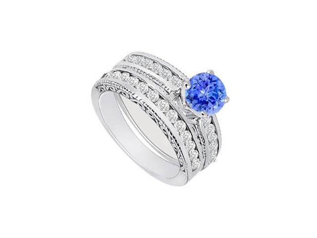 Tanzanite  Diamond Engagement Ring with Wedding Band Sets 14K White Gold  1.00 CT TGW