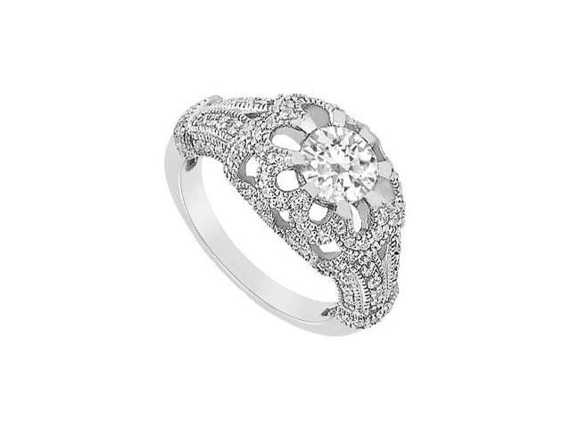 Engagement Ring with Floral Design CZ in 14K White Gold 1 Carat Total Gem Weight