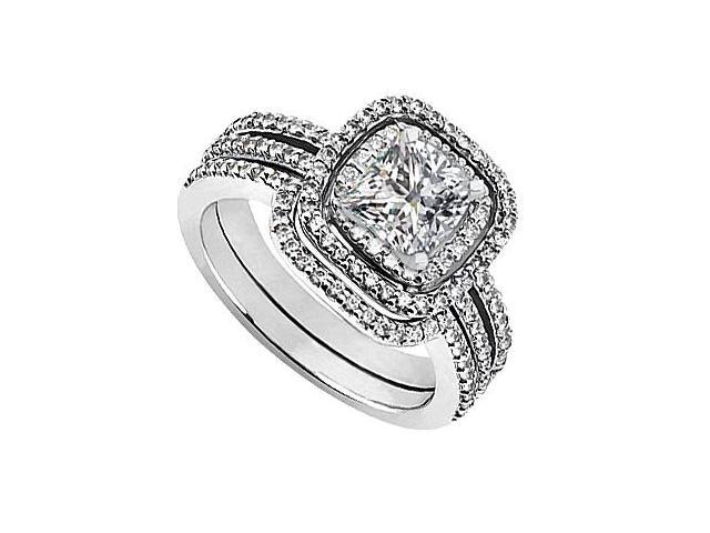 CZ Engagement Ring with Cubic Zirconia Wedding Sets in 14K White Gold 1.35 Carat TGW