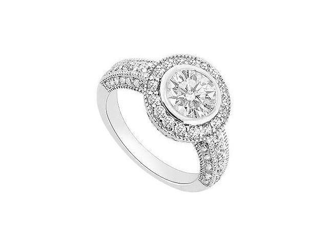 Halo Engagement Ring in 14K White Gold Triple AAA Quality CZ of 1 Carat Total Gem Weight