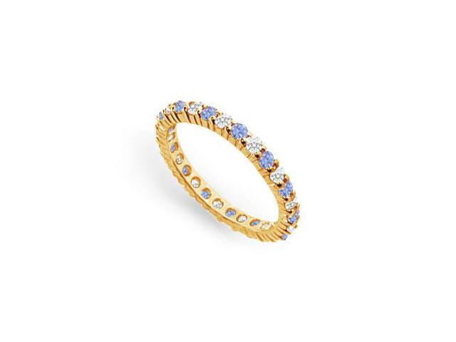 CZ and Created Tanzanite Eternity Band in 18K Yellow Gold Vermeil 1CT. TGW.