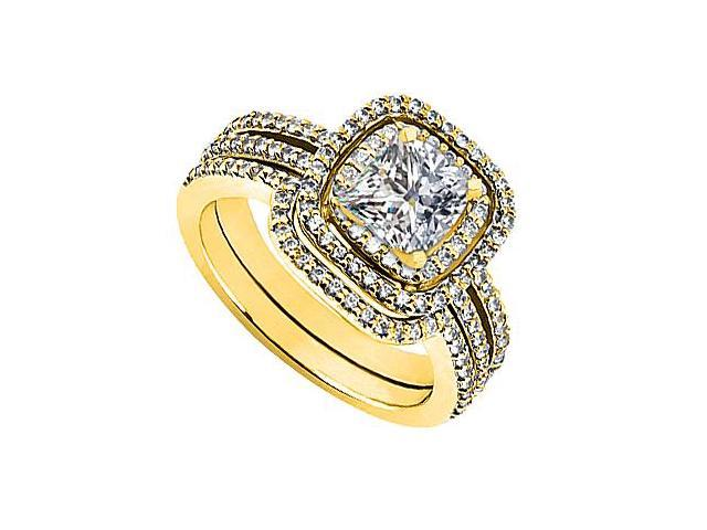 CZ Engagement Ring with Cubic Zirconia Wedding Sets in 14K Yellow Gold 1.35 Carat TGW