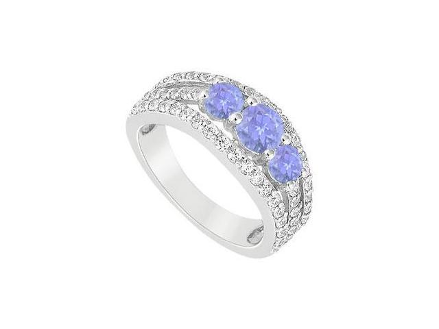Engagement Ring in Rhodium Sterling Silver Tanzanite and CZ with 2.25 Carat TGW