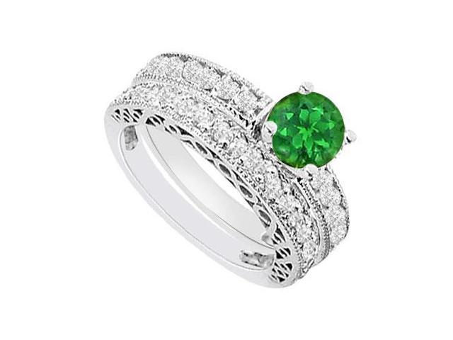 14K White Gold  Emerald and Diamond Engagement Ring with Wedding Band Set 1.50 CT TGW