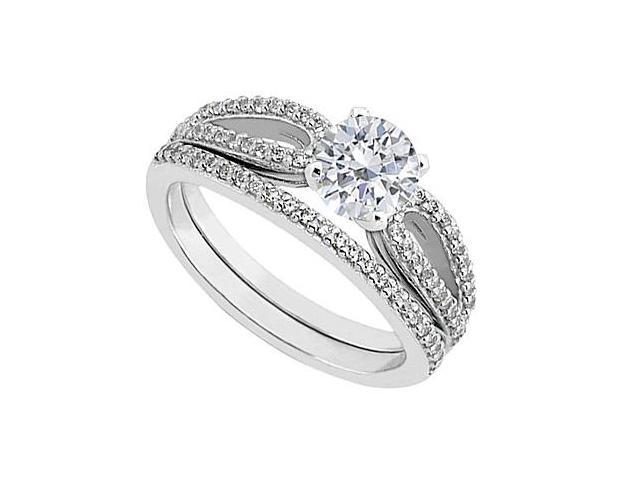 Diamond Engagement Ring with Diamond Wedding Rings in 14K White Gold 0.90 Carat Diamonds