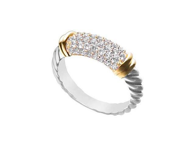 Triple AAA Quality CZ fashion Ring in 14K White Gold and Yellow Gold Vermeil 1.25 Carat TGW