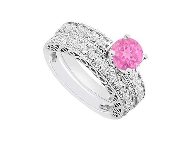 14K White Gold  Pink Sapphire and Diamond Engagement Ring with Wedding Band Set 1.50 CT TGW
