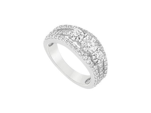 Cubic Zirconia Engagement Ring in 14K White Gold 2.50 Carat Total Gem Weight