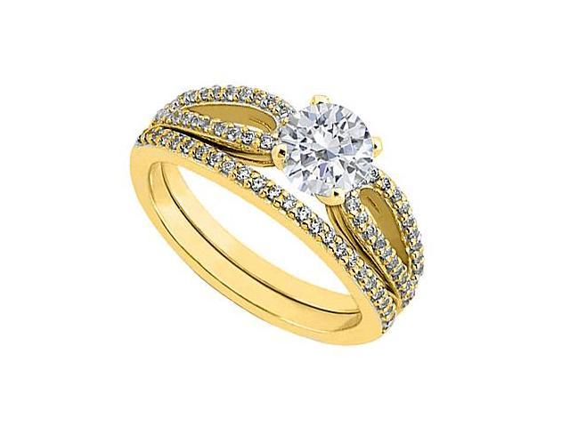 Diamond Engagement Ring with Diamond Wedding Rings in 14K Yellow Gold 0.90 Carat Diamonds