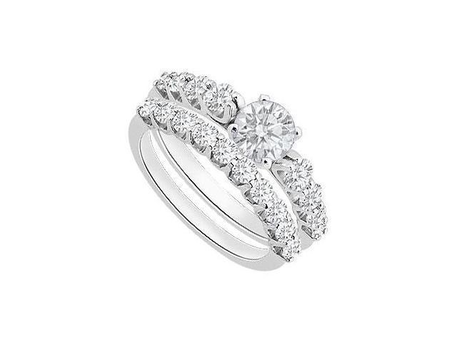 Diamond Engagement Ring with Diamond Wedding Rings in 14K White Gold 1.50 Carat Diamonds
