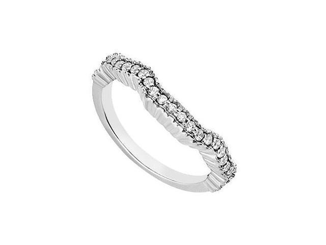 Wedding Bands Accented AAA CZ Semi Eternity Curve Band on 14K White Gold Half Carat TGW.