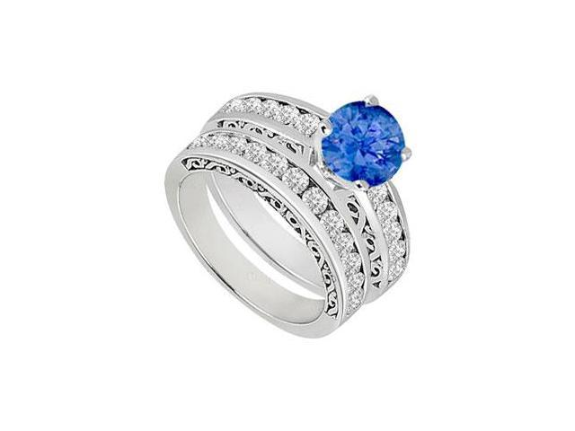 Sapphire  Diamond Engagement Ring with Wedding Band Sets 14K White Gold  1.15 CT TGW