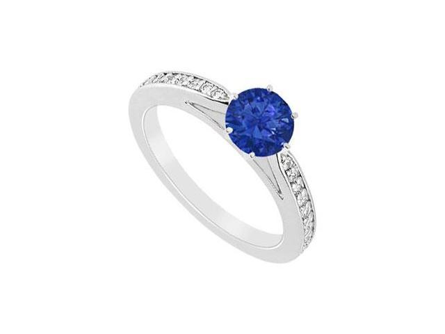 Diffuse Sapphire and CZ Engagement Ring with 0.75 CT TGW in Rhodium Treated 925 Sterling Silver