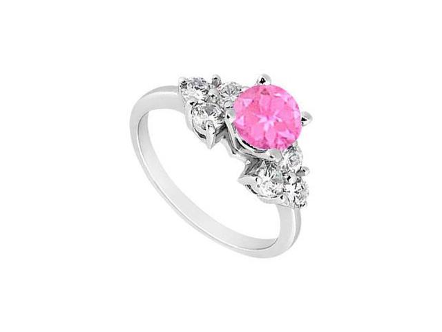 Sterling Silver Created Pink Sapphire and Cubic Zirconia Engagement Ring 0.75 CT TGW