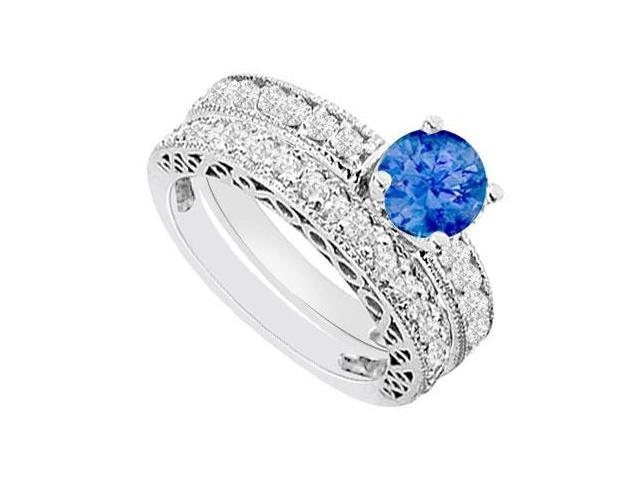 14K White Gold  Sapphire and Diamond Engagement Ring with Wedding Band Set 1.50 CT TGW