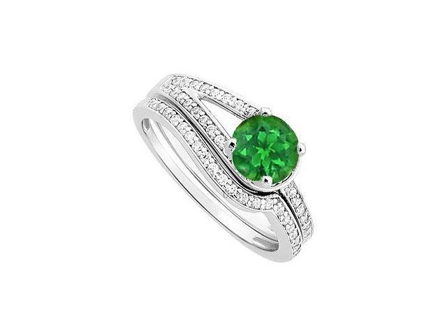 Emerald and Diamond Engagement Ring with Wedding Band Set  14K White Gold - 0.85 CT TGW