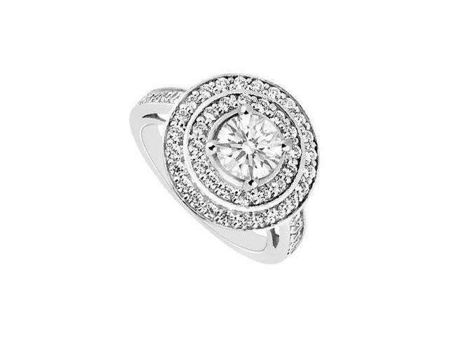 1 Carat Engagement Ring with Cubic Zirconia in 14K White Gold