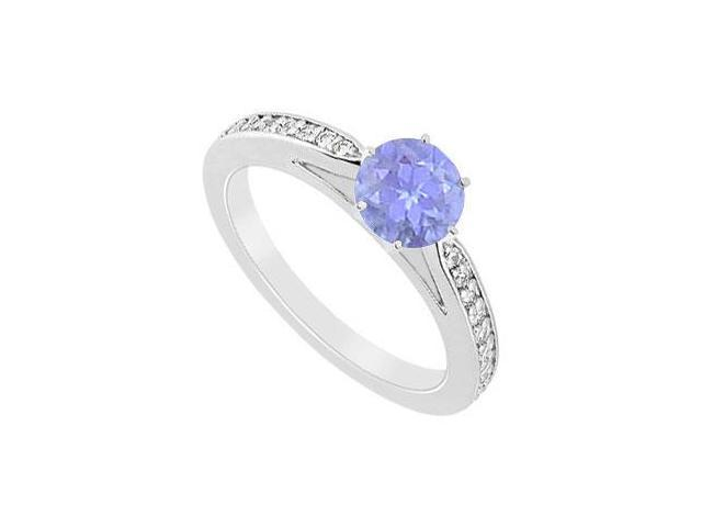 Engagement Ring Tanzanite in Rhodium Treated .925 Sterling Silver with Cubic Zirconia 0.75 carat