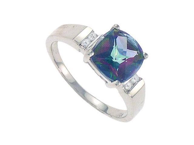 Mystic Topaz and Diamond Ring  14K White Gold - 3.33 CT TGW