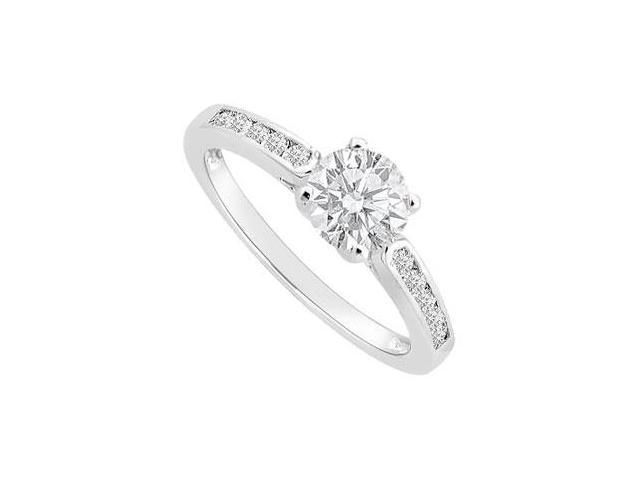 Cubi Zirconia Engagement Ring in Rhodium Treated Sterling Silver with 0.75 Carat TGW