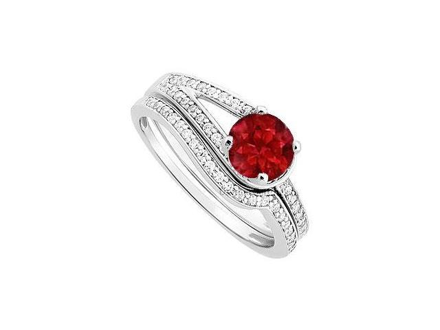 Ruby and Diamond Engagement Ring with Wedding Band Set  14K White Gold - 0.85 CT TGW