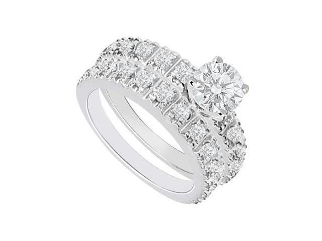 14K White Gold  Diamond Engagement Ring with Wedding Band Set 1.50 CT TDW