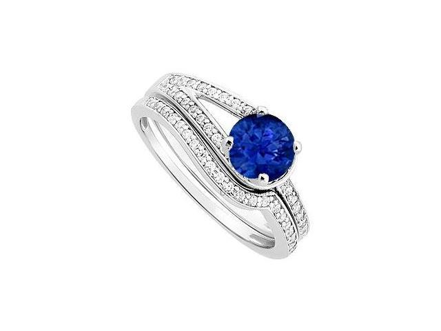 Sapphire and Diamond Engagement Ring with Wedding Band Set  14K White Gold - 0.85 CT TGW