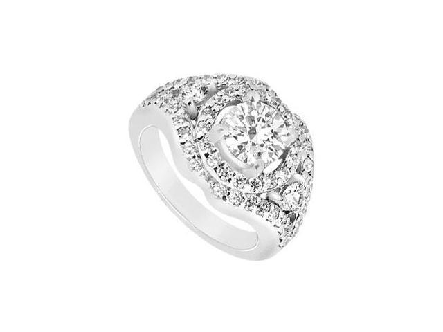 14K White Gold Cubic Zirconia Engagement Ring of 1.50 Carat Total Gem Weight