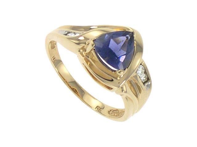 Iolite and Diamond Ring  14k Yellow Gold - 1.00 CT TGW