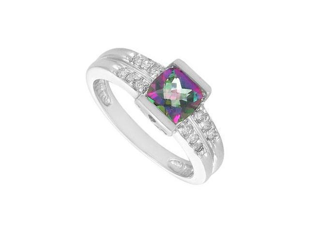 Mystic Topaz and Diamond Ring  14K White Gold - 1.66 CT TGW