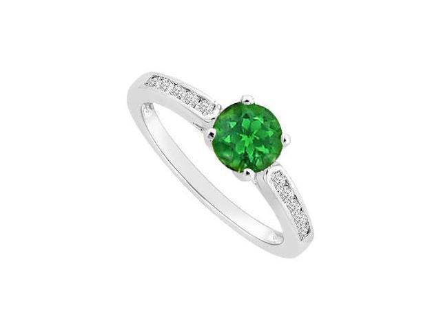 Engagement Ring Frosted Emerald and CZ in Rhodium Treated 925 Sterling Silver with 0.75 carat TG