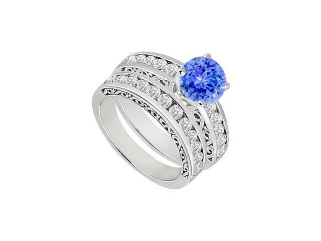 Tanzanite  Diamond Engagement Ring with Wedding Band Sets 14K White Gold  1.15 CT TGW
