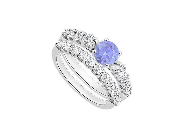 Tanzanite Engagement Ring with Diamond Wedding Sets in White Gold 14K 1.75 Carat Total Gem Weigh