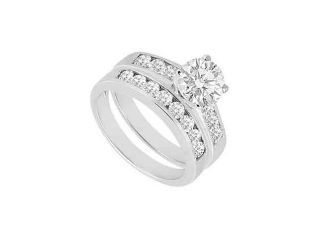 Diamond Engagement Ring with Wedding Band Sets 14K White Gold  1.50 CT TDW