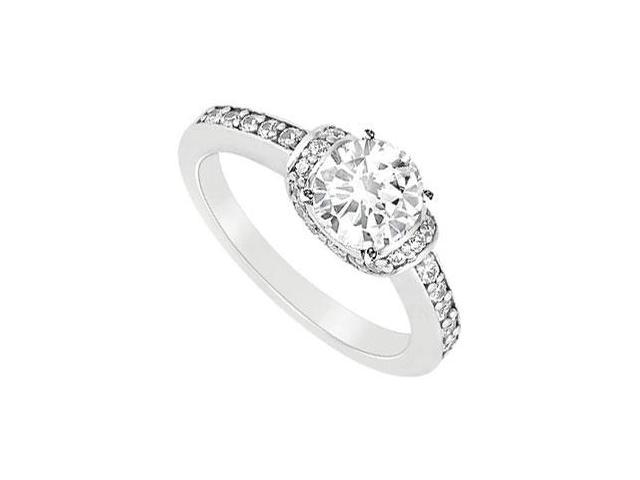 Engagement Ring in 14K White Gold with CZ Ring of 0.75 Carat Total Gem Weight