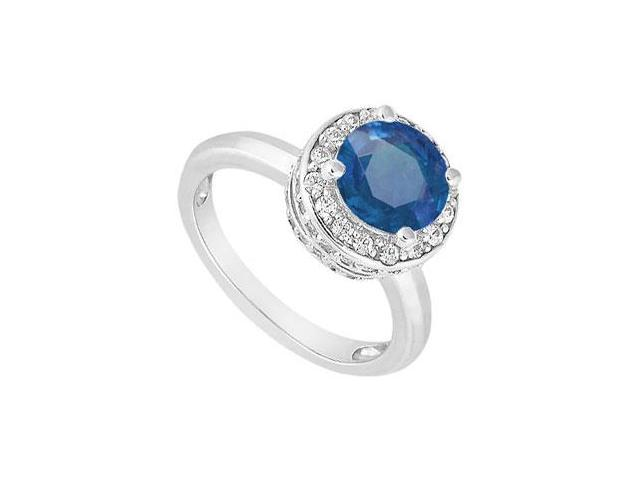 Sterling Silver Created Blue Sapphire and Cubic Zirconia Engagement Ring 1.00 CT TGW
