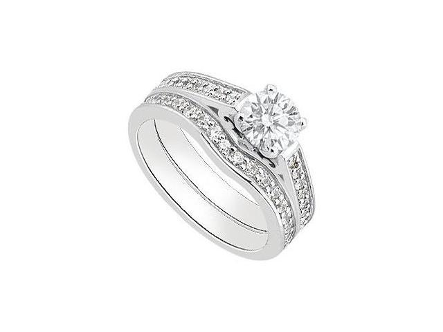 Diamond Engagement Rings with Diamond Wedding Band Sets in 14K White Gold 1.05 Carat TGW