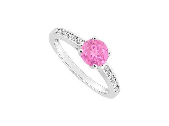 Rhodium Treated Sterling Silver Engagement Ring with Pink Sapphire and Cubic Zirconia 0.75 Carat