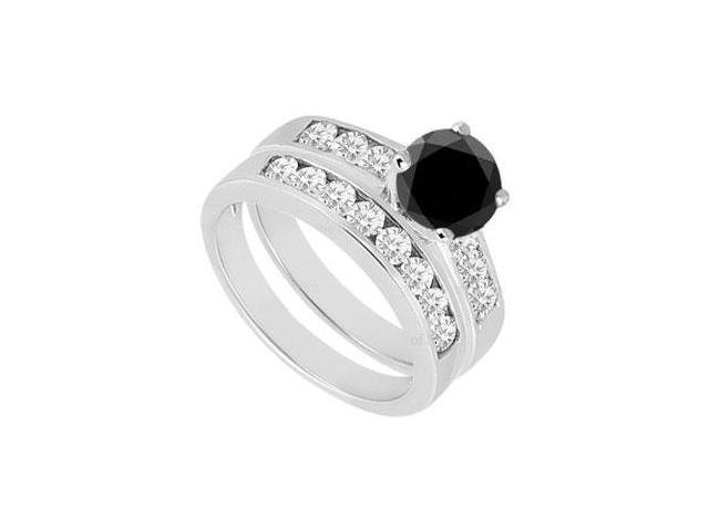 Black  White Diamond Engagement Ring with Wedding Band Sets 14K White Gold  1.50 CT TDW