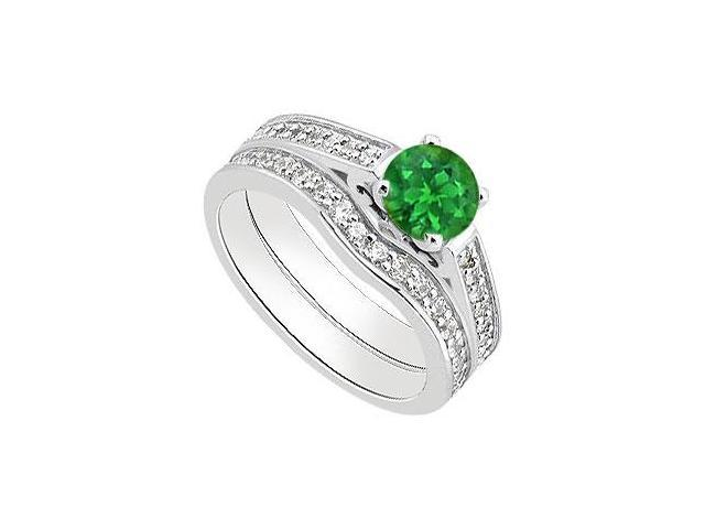 14K White Gold Green Emerald Engagement Ring with Diamond Bands 1.30 Carat Total Gem Weight