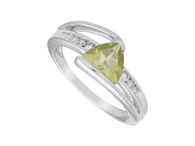 Lemon Quartz and Diamond Ring  14K White Gold - 1.25 CT TGW