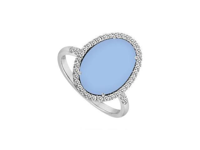 Sterling Silver Aqua Chalcedony and Cubic Zirconia Ring 16.00 CT TGW