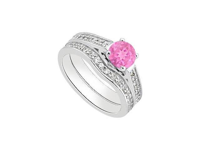Pink Sapphire Engagement Ring with Diamond Wedding Bands in White Gold 14K 1.30 Carat TGW